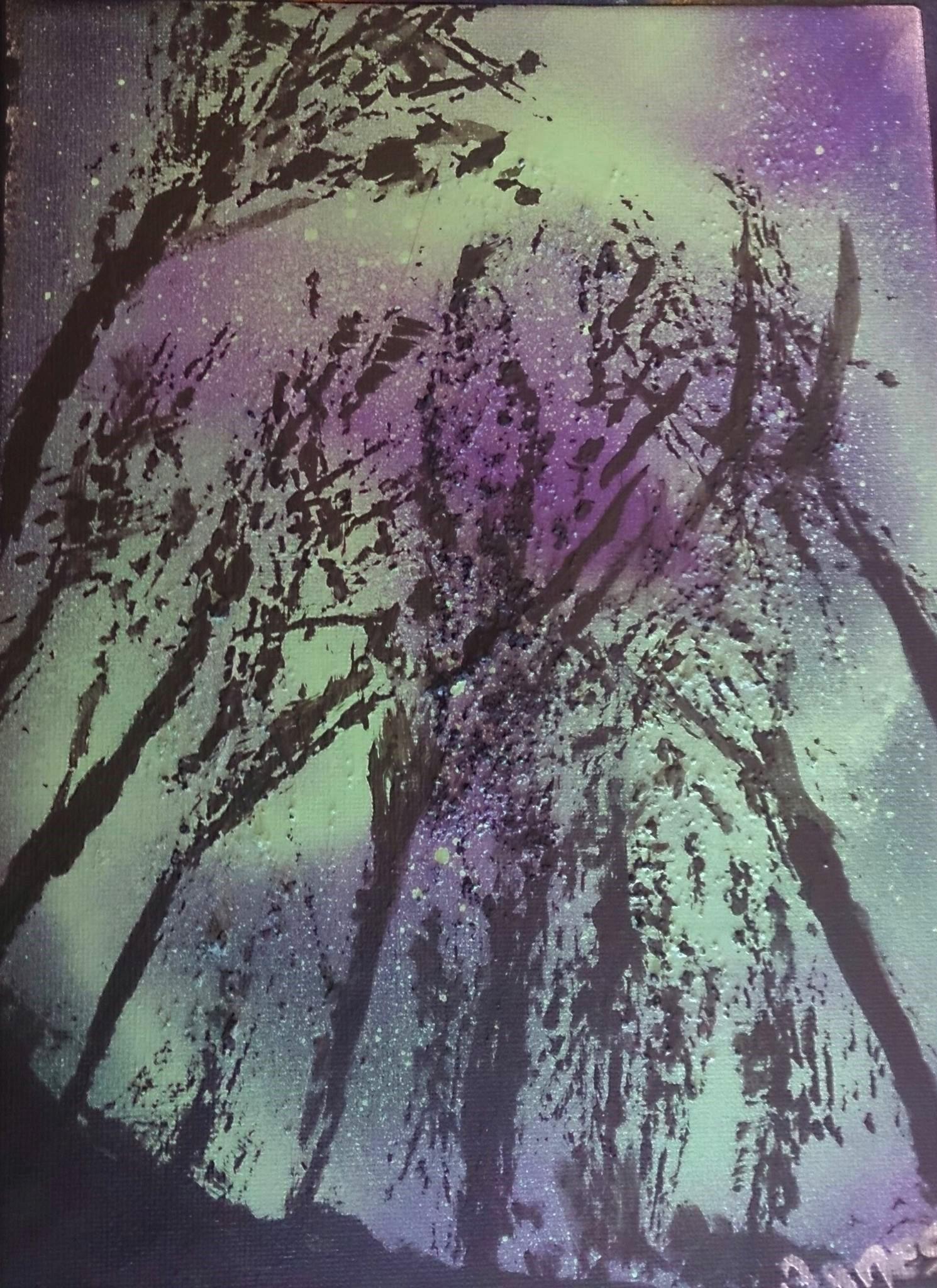 Aurore Boréale sur la forêt