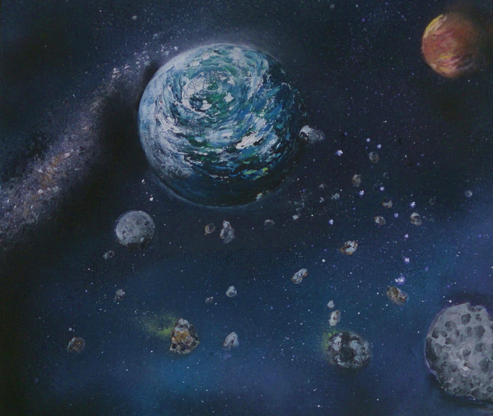 Terre sous une pluie d'astérides
