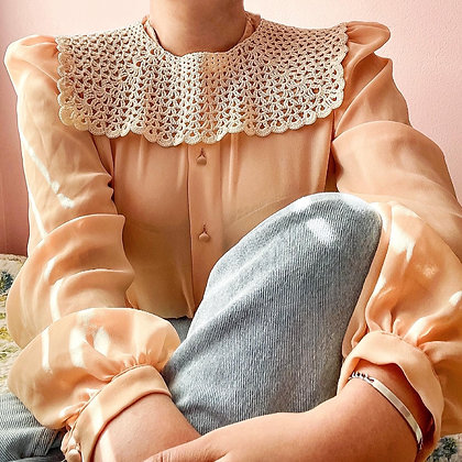 80s Crochet Detachable Collar, One Size Fits Most