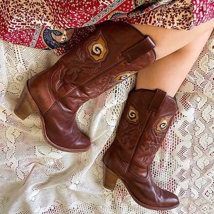70s Sendra Neutral Rose Cowboy Boots, 9