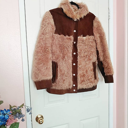 60s Suede & Faux Fur Jacket, up to M