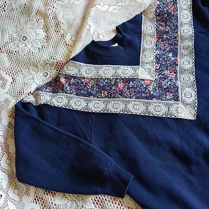 80s Lace & Floral Sweatshirt