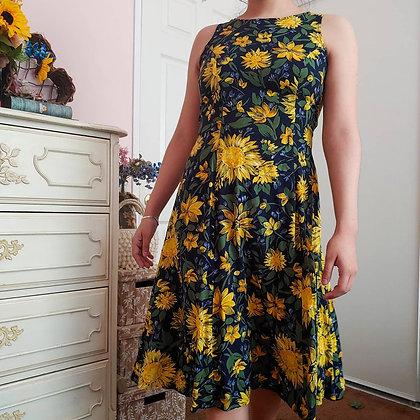 90s Sunflower Floral Dress, S