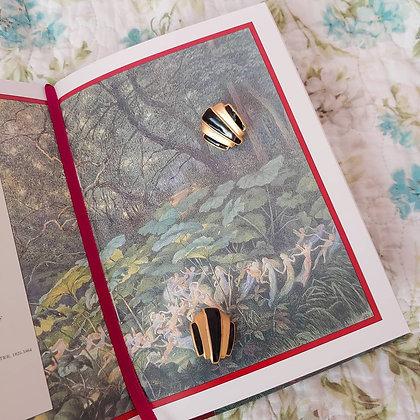 80s Black & Gold Clip On Earrings