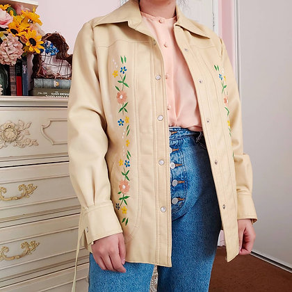 60s Faux Leather Embroidered Jacket, L