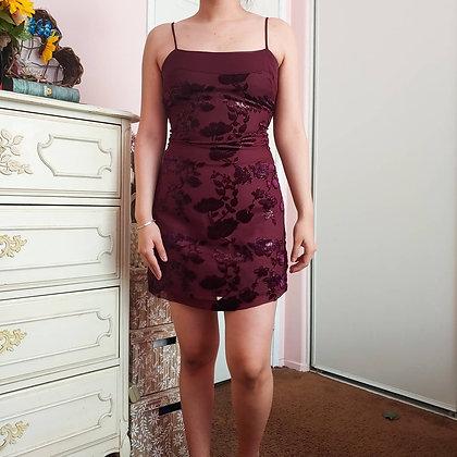 90s Velvet & Tinsel Floral Slip Dress, XS