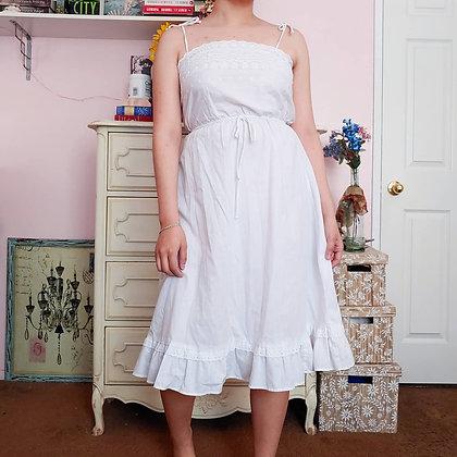 70s White Eyelet Dress, XS/S