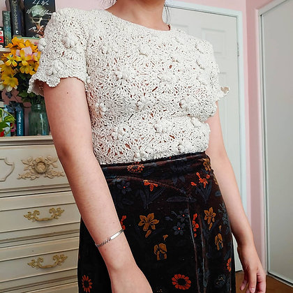80s Floral Crochet Top, up to M fitted