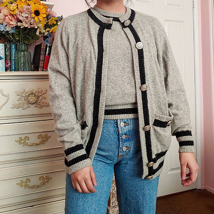 90s Lambswool Angora Cardigan & Sweater Set, up to L fitted