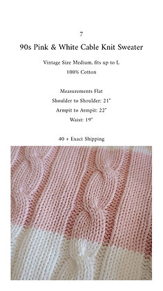 7 - 90s Pink & White Cable Knit Sweater, up to L, 1 pound 12 oz