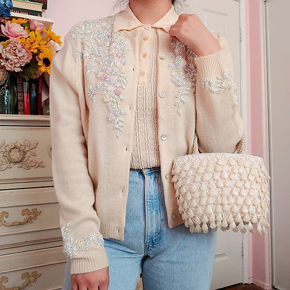 90s Lambswool Beaded Cardigan, up to L