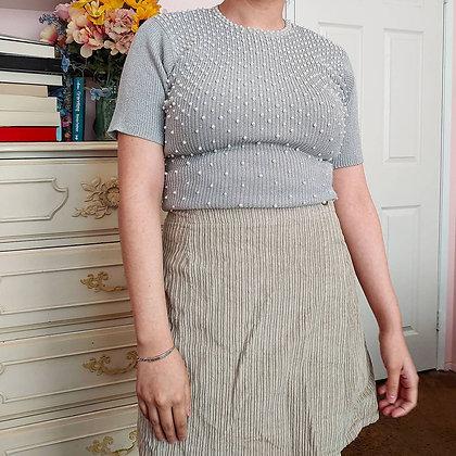 1996 Grey Metallic Pearl & Beading Sweater Top, XS/S