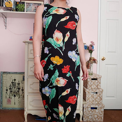 90s Botanical Floral Maxi Dress, S/M