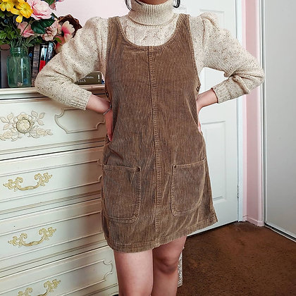 90s Light Brown Corduroy Jumper Dress, up to M fitted