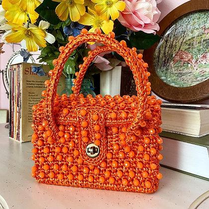 60s Orange Beaded & Raffia Mini Handbag