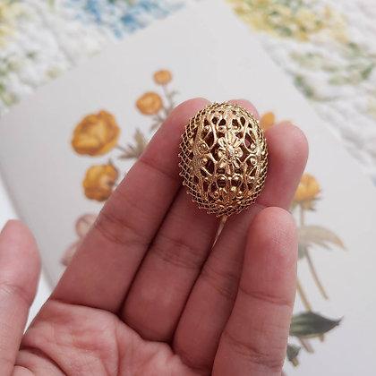 60s Floral Egg Clip On Earrings