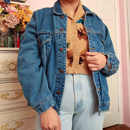 *RESERVED* 80s Lined Medium Wash Denim Jacket, up to L fitted