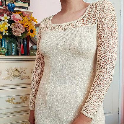 60s Ducci Knits Ivory Crochet Maxi Dress, up to M
