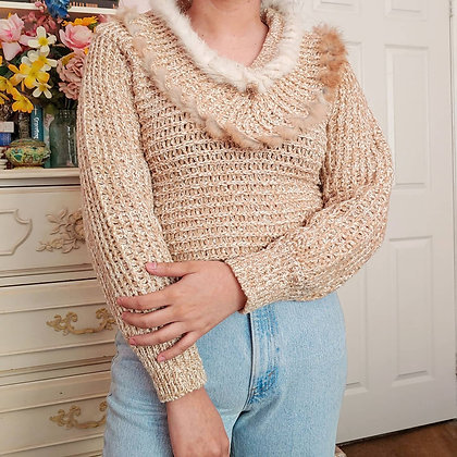 80s Double Collar Fur Sweater, up to M