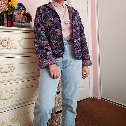 90s Reversible Floral Quilted Jacket, M/L