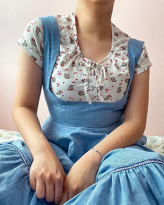 70s Chambray Drindl Inspired Dress, S