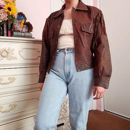 80s Fringed Leather Jacket, S/M