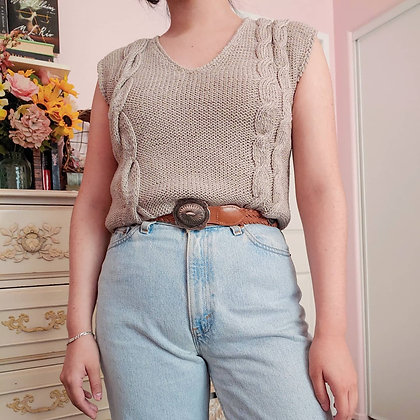 80s Taupe Cable Knit Top, up to M