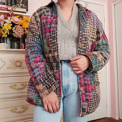 90s Reversible Quilted Plaid Jacket, up to M