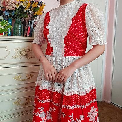 60s Handmade Floral & Eyelet Square Dancing Dress, M/L