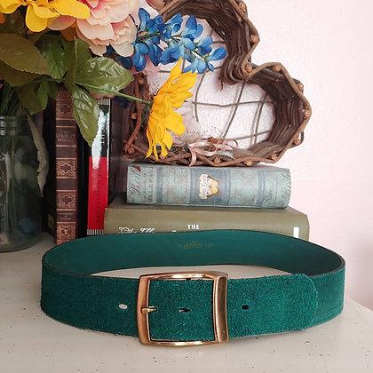 70s Emerald Suede Belt