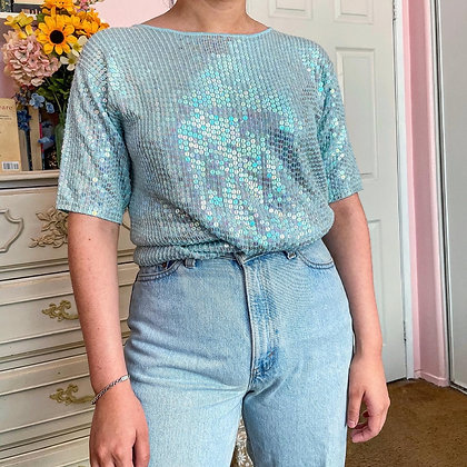 90s Sequined Blue Knit Top, up to L