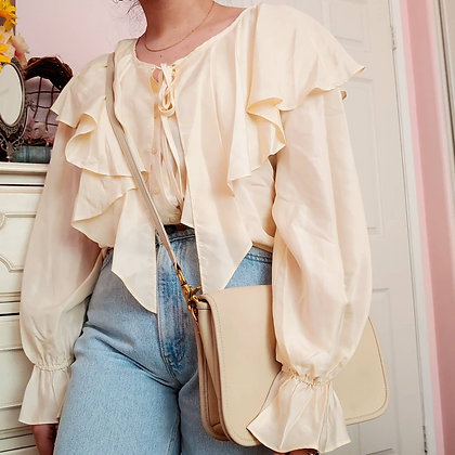 *Reserved & Pending for 2 Hours, 4pm PST* 90s Silk Peasant Top, up to XL