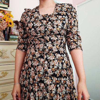 80s Floral Button Down Dress, S