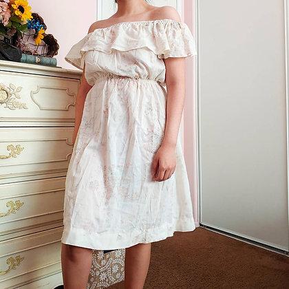 70s Off The Shoulder Floral Dress, XS-M