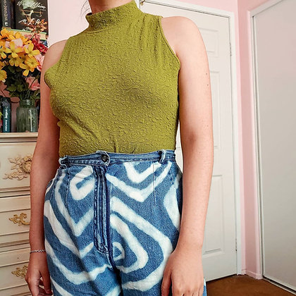 90s Olive Green Rose Bodysuit, L