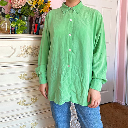 90s Bloomingdales Lime Green 100% Silk Blouse, up to XL fitted