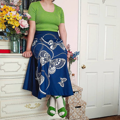 """70s Butterfly Maxi Skirt, 26.5"""""""