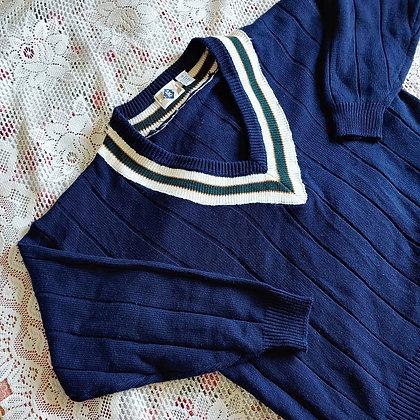 90s Navy Varsity Sweater, up to XXL