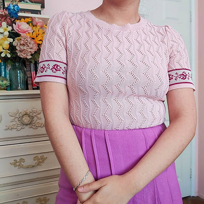 60s Pink & Rose Knit Top, up to M fitted