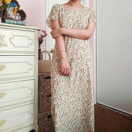 90s Accordian Floral Dress, L