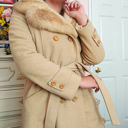60s Wool & Faux Fur Coat with Matching Ties, up to L fitted