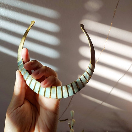 80s Brass and Mother of Pearl Stripe Choker