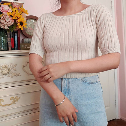 90s Ribbed Oatmeal Knit Top, up to M