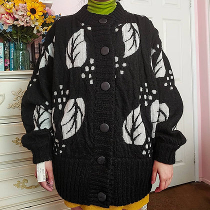 80s NWT Black & White Leaf Wool Mohair Cardigan, up to L