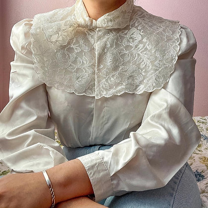 80s Ivory Blouse with Large Bib & Mini Scarf, up to L fitted