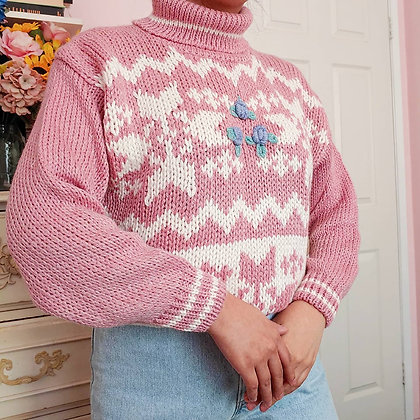 1989 NWT Fair Isle Turtleneck Sweater, up to L