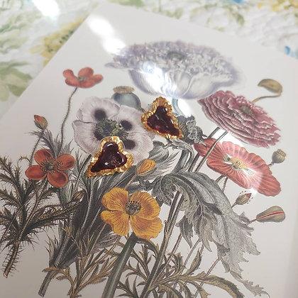 80s Gold Toned Shimmery Cranberry Enamel Earrings