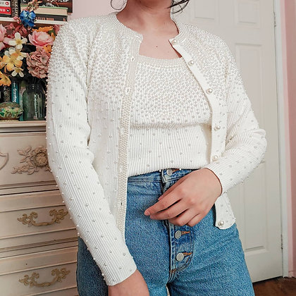 90s NWT White & Pearl Cardigan Set, up to M fitted