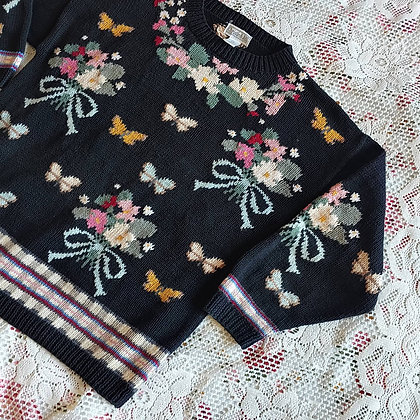 90s Butterfly & Bouquet Sweater, up to XL