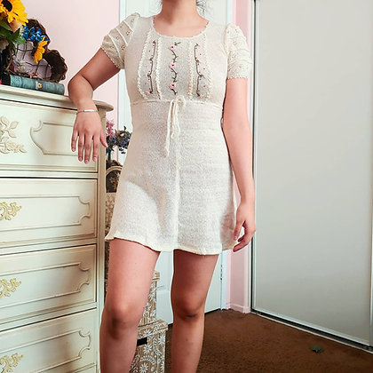 60s Babydoll Mini Floral Knit Dress, XS/S